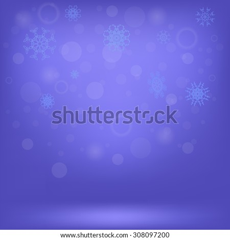 Vector Winter Snow Background. Snow Flakes on Blue Sky Background - stock vector