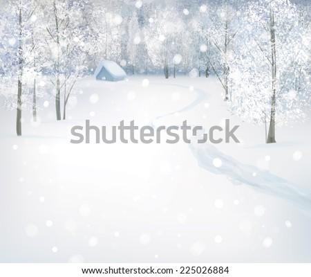 Vector winter snow landscape. - stock vector