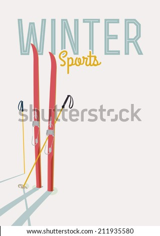 Vector winter sports themed template featuring red touring skis and poles standing in the snow | Retro looking minimalistic skiing promotion poster template - stock vector