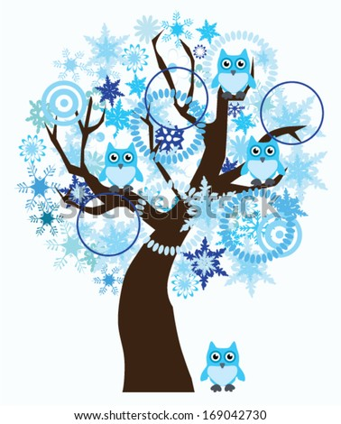 vector winter tree with snowflakes and owls - stock vector