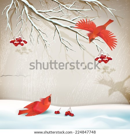 Vector winter vintage style landscape with birds, tree branch, snowdrifts, decorative plaster wall - stock vector