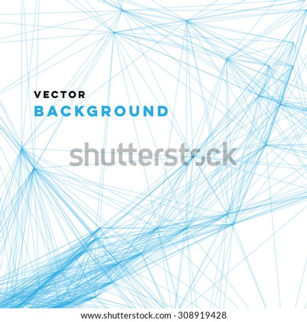Vector wireframe abstract background, irregular blue linear web on white - stock vector