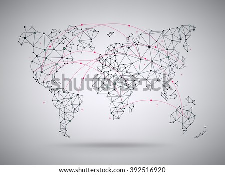 Vector wireframe mesh polygonal world map. Abstract global connection structure. Continents connected with lines and dots. Geometric world concept. Ideal for digital data visualization, infographics - stock vector