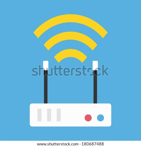 Vector Wireless Network Router Icon - stock vector