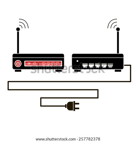 Vector wireless router icon with front and rear view - stock vector