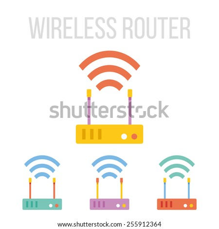 Vector wireless router icons set. Isolated on white background. - stock vector
