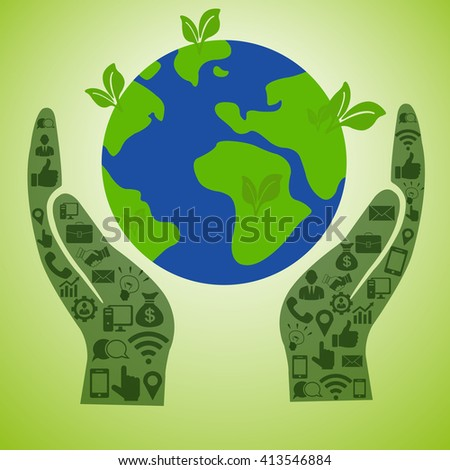 Vector with business hands and green planet