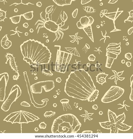 Vector with hand made seamless summer beach pattern  - stock vector