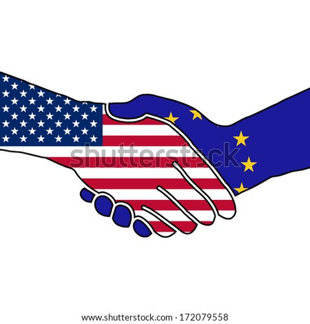 Vector with two shaking hands, USA - EU - stock vector