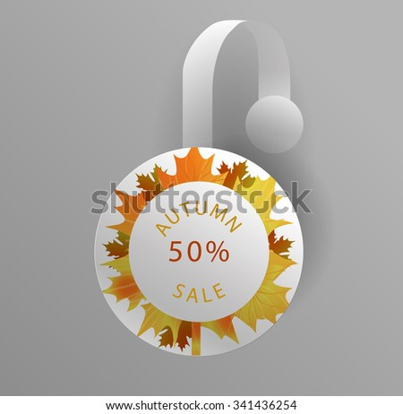 Vector wobbler mockup with transparent strip.Template for your hanging shelf tag design.Autumn sale design for print.Maple Leaves. - stock vector
