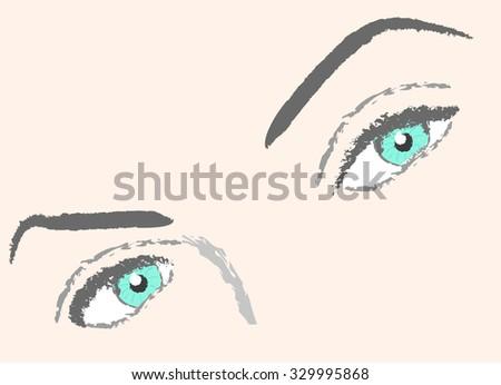 vector woman eyes lashes eyebrow portrait illustration - stock vector
