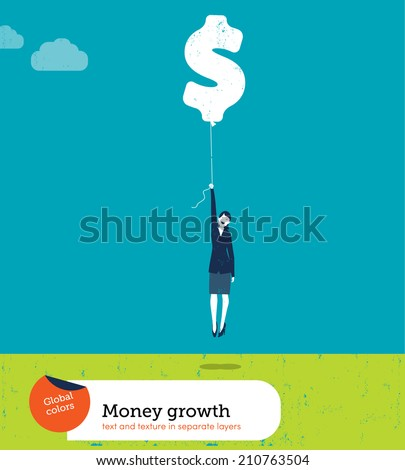 Vector Woman Flying with Money Balloon