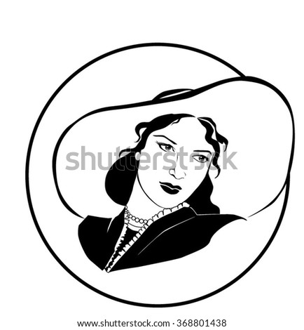 vector woman in a hat