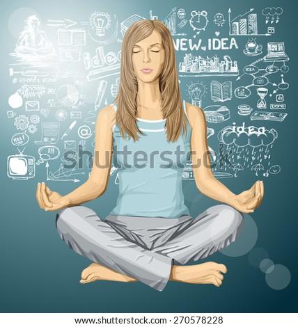 Vector woman meditating in lotus pose braistorming - stock vector