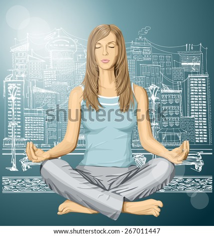 Vector woman meditating in lotus pose in city