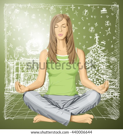 Vector woman meditating in lotus pose on Christmas - stock vector