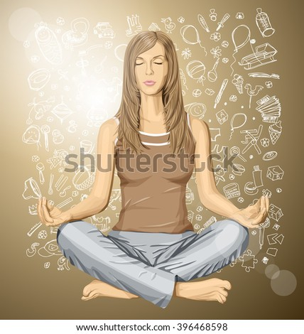 Vector woman meditating in lotus pose thinking about pregnancy - stock vector