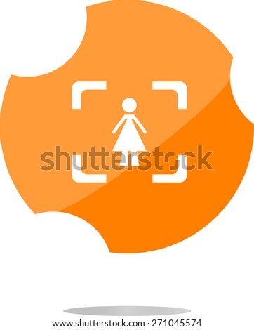 vector woman round glossy web icon on white background - stock vector