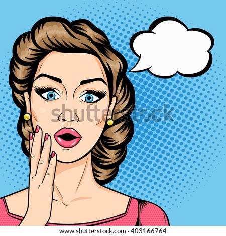 Vector woman shocked face with open mouth and speech bubble for message in pop art comics style. Retro amazed woman face. - stock vector