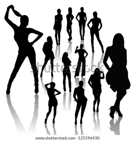 Vector woman silhouettes, dancing, singing and posing