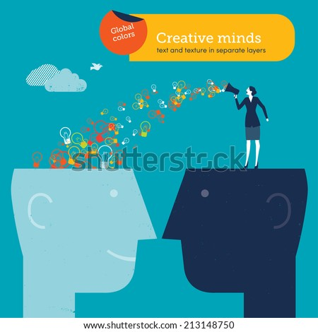 Vector woman speaker sending bulbs to head. Vector illustration Eps10 file. Global colors. Text and Texture in separate layers. - stock vector