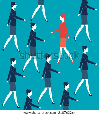Vector Woman Walking Against the Crowd - stock vector