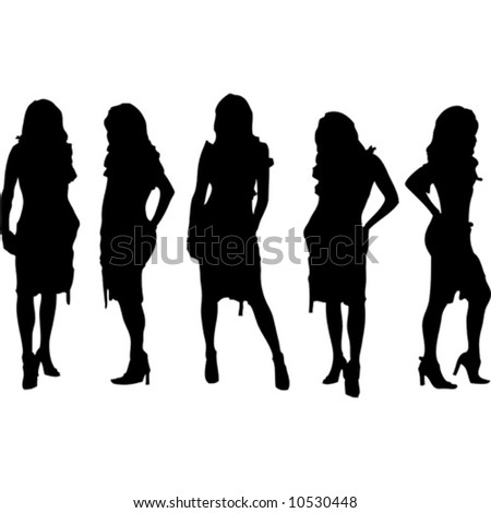 vector womans silhouette - stock vector