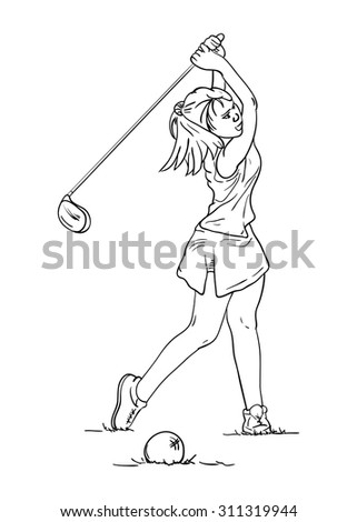 vector - women long hair -  golf player - isolated on background - stock vector