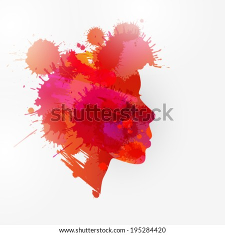 Vector women portrait silhouette created by stains background illustration - stock vector