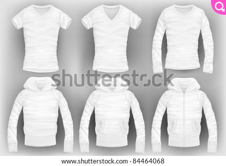 vector women's clothes pack. t-shirt, v-neck, long-sleeved, hooded sweatshirt with pockets and zipper - stock vector