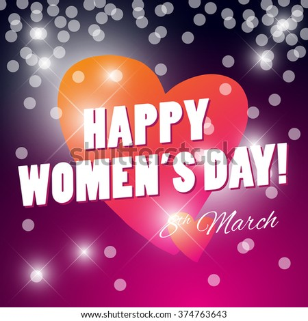 Vector women's day card template. Invitation card, congratulation flyer, celebration postcard, leaflet, print design. Lettering, text message, best wishes, warm regards card.