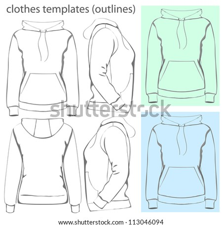 Vector. Women's hooded sweatshirt with pocket (back, front and side view). Outlines - stock vector