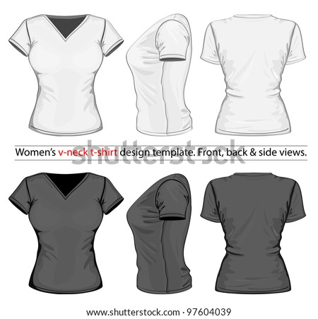 Vector womens vneck tshirt design template stock vector for V neck t shirts with designs