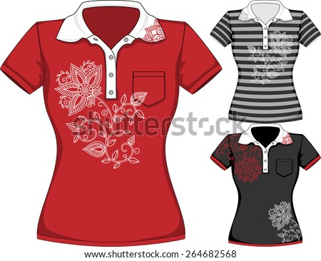 Vector womens short sleeve t-shirt design templates in three colors with floral pattern - stock vector