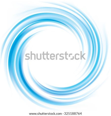 Vector wonderful futuristic luxury modern rippled curvy backdrop with space for text. Beautiful volute fluid surface bright turquoise color with glowing white center in middle of funnel  - stock vector
