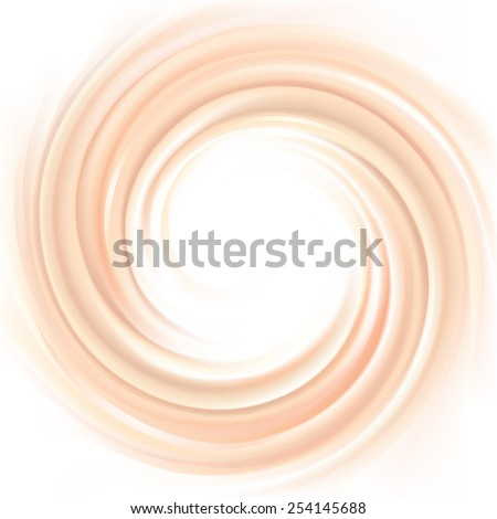 Vector wonderful light pink curvy swirling backdrop with space for text. Beautiful delicious volute fluid creamy surface with glowing white center in middle of funnel  - stock vector