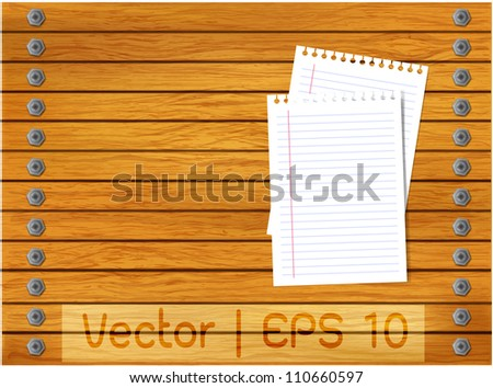 Vector wood background with line blank paper