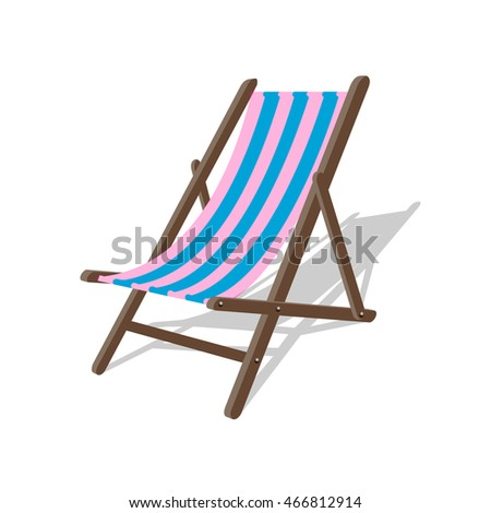 Vector wood beach rest chair. Relax outdoor striped seat illustration. Lounge concept leisure furniture
