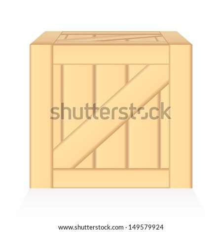 vector wood box illusion isolated - stock vector