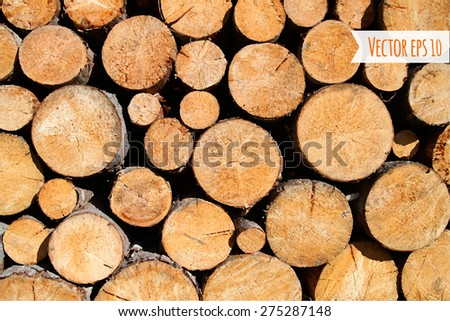 Vector wood log background  - stock vector