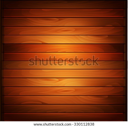 Vector wood plank background in warm colors - stock vector