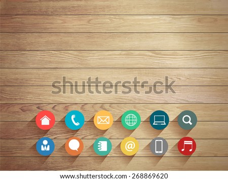 Vector wood plank background with modern business flat icons  - stock vector