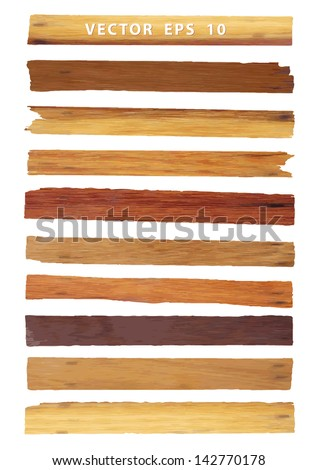 Vector wood plank, isolated on white background - stock vector