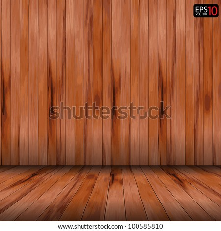 Vector wood room with wooden planks floor and walls background - stock vector