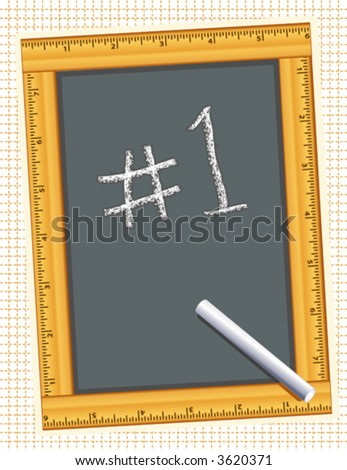 vector  Wood RULER FRAME blackboard, chalk, #1.  Copy space for drawings, text for back to school, literacy projects, scrapbooks, arts & crafts. EPS8 compatible;  in layers for easy editing. - stock vector