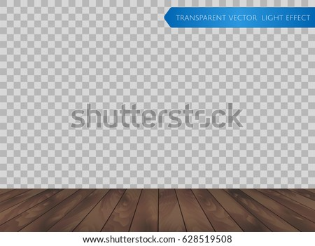 Vector Wood Table Top Or Wooden Floor Isolated On Transparent Background.  Realistic Dark Brown Wooden