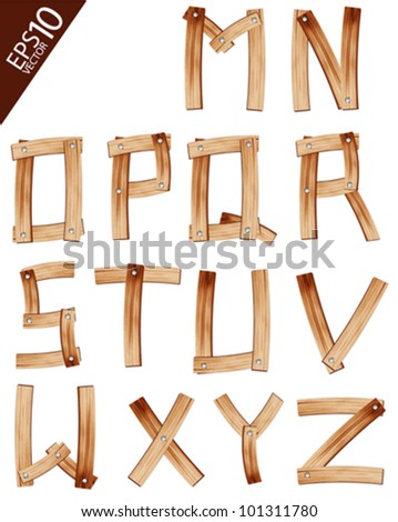Vector Wooden Alphabet set - stock vector
