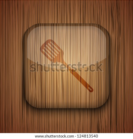 Vector wooden app icon on wooden background. Eps10 - stock vector
