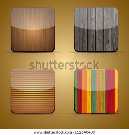 Vector wooden app icon set on brown background. Eps 10