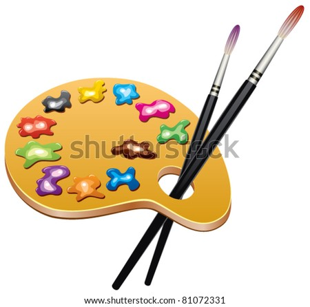 vector wooden art palette with blobs of paint and brushes - stock vector